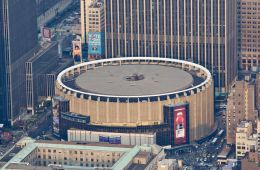 An aerial view of the very circular Madison Square Garden.