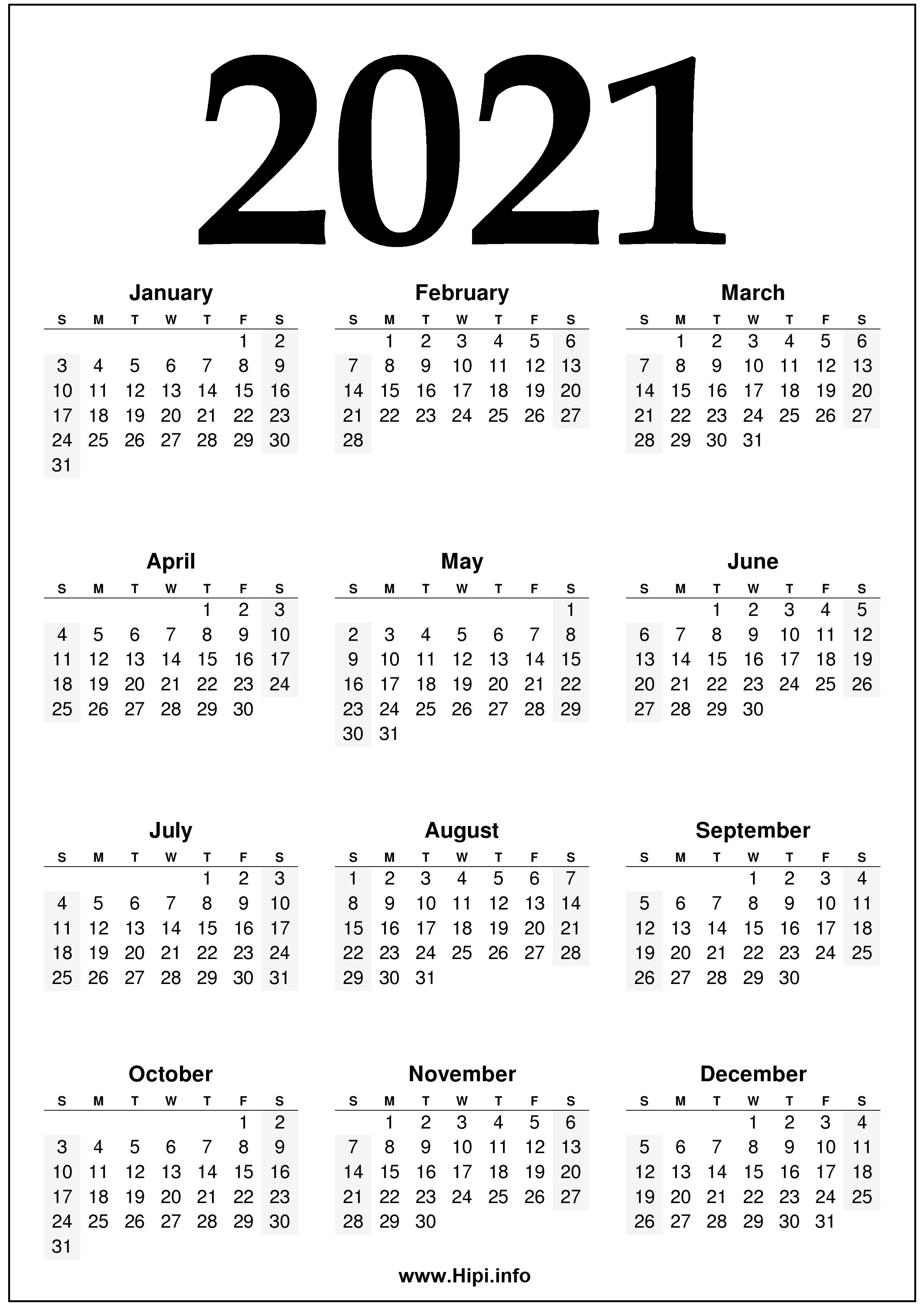 From an unprecedented pandemic to historic calls for racial justice to homicidal hornets to a seemingly major uptick in global climate catastrophes — and those are just a few of the year's standout ev. 2021 Calendar Printable One Page Free - Free Download ...