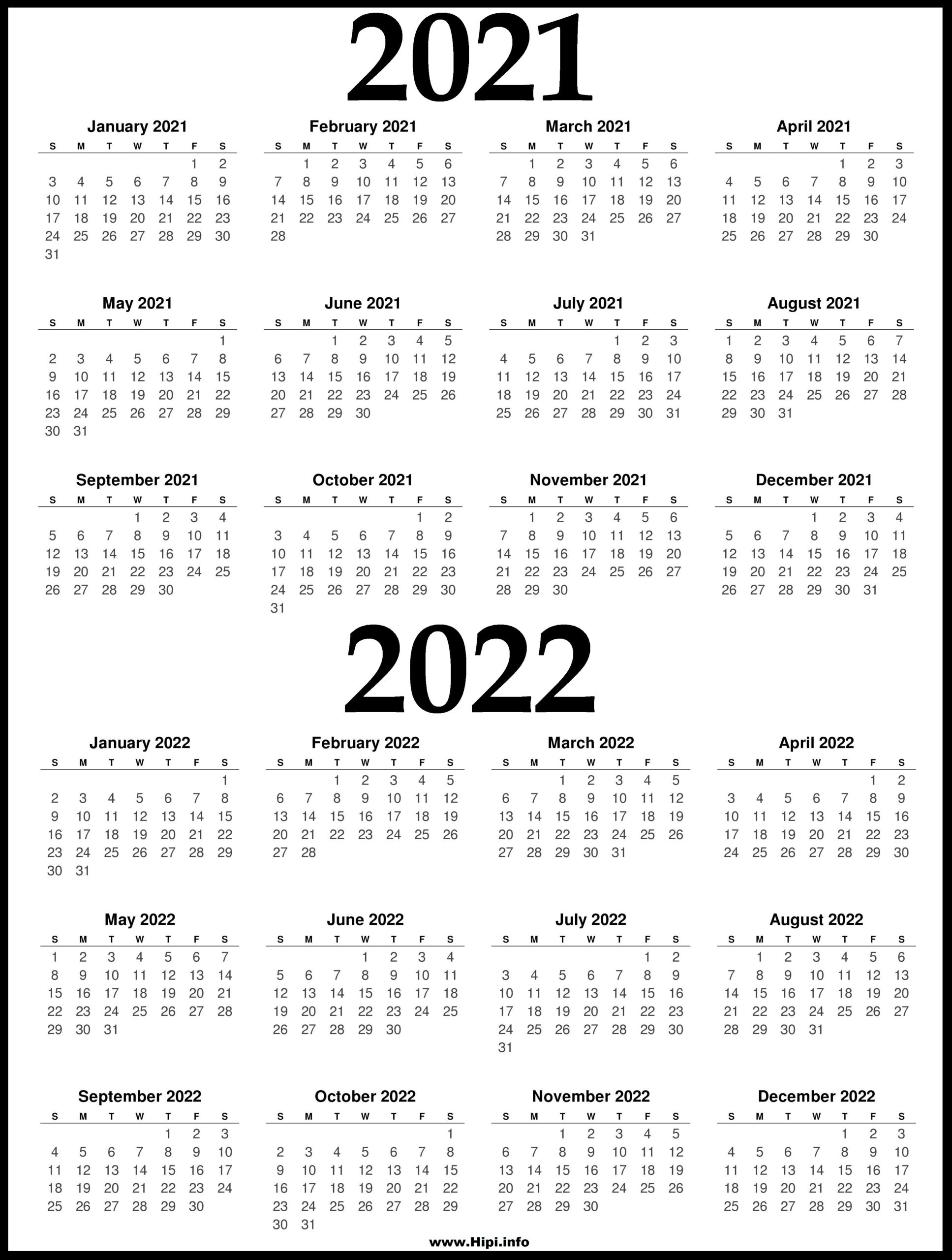 The calendar of events lists these seminars and programs. 2021 and 2022 Printable Calendar - 2 Year Calendar - Hipi ...