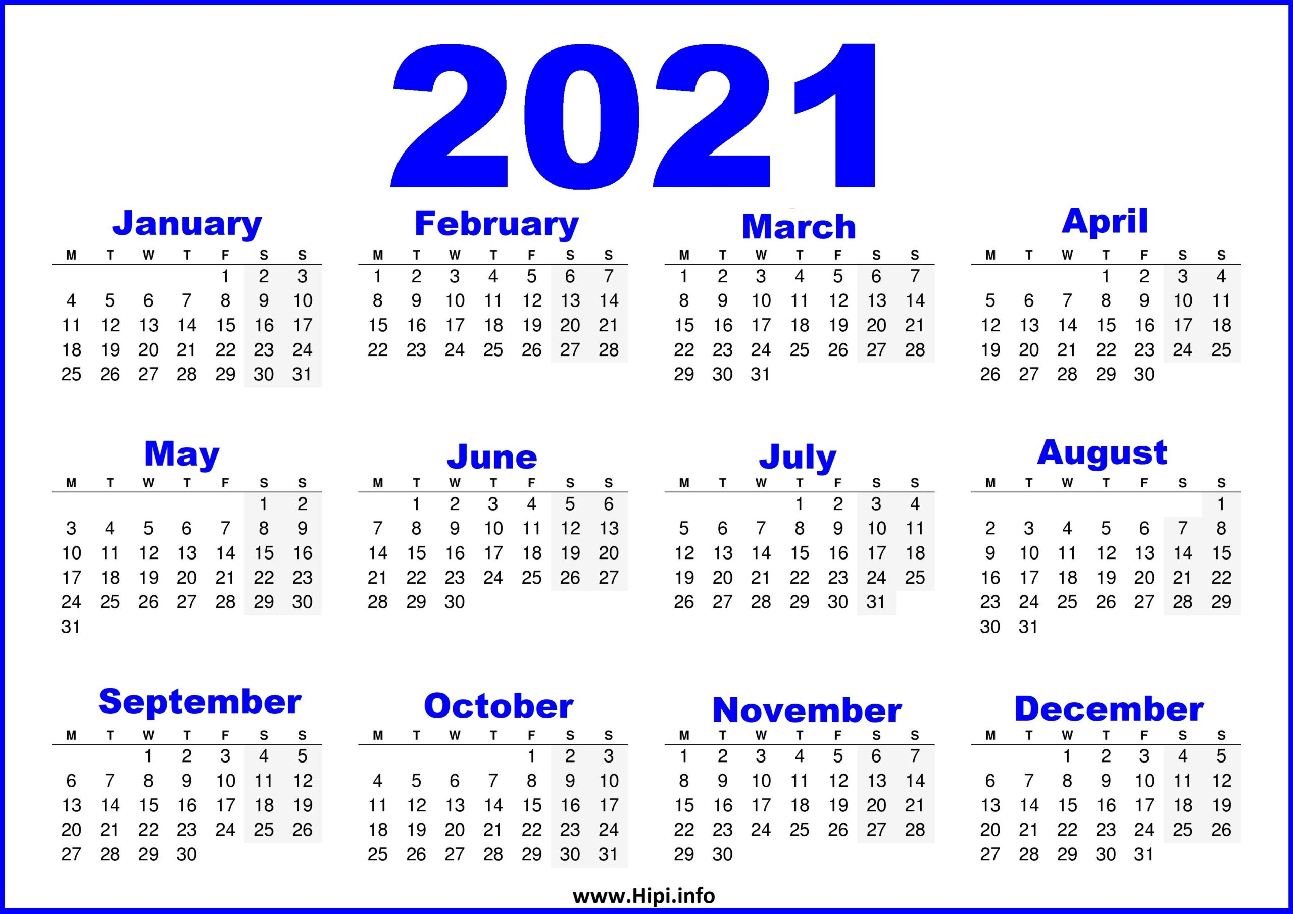 Free printable calendar 2021 template are available here in blank & editable format. Free Printable Calendar 2021 UK - Blue - Hipi.info ...