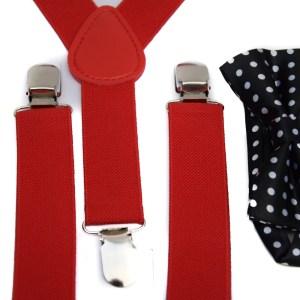 Rode bretels en een zwarte vlinderstrik met witte stippen voor kinderen.