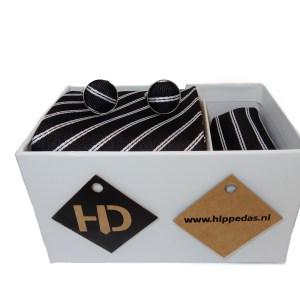 Zwart wit gestreepte set stropdas manchetknopen pochet