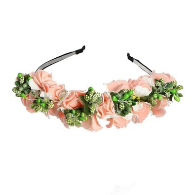 Handmade Gradient Rose Flower Wreath Vintage Crown Garland Halo Festival Hair Floral Headband,Light Green