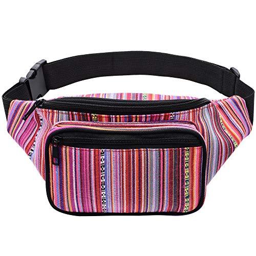 Hippie Woman In Glasses Cool Fenny Packs Waist Bags Adjustable Belt Waterproof Nylon Travel Running Sport Vacation Party For Men Women Boys Girls Kids