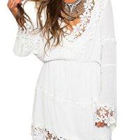 Choies Women's Cotton Casual V Neck Applique Trims Flare Sleeve Mini Dress