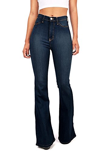 d17209b52543bb Vibrant Women's Juniors Bell Bottom High Waist Fitted Denim Jeans ...