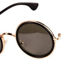 FUNOC Womens Mens Unisex Round Retro Vintage Sunglasses Circle Mirror Lens