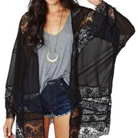 Jollychic Women's Light Loose Floral Print Chiffon Sheer Kimono Cardigan Blouses