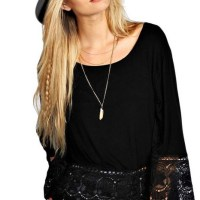 MIXMAX Women Hippie Loose Long Sleeve Lace T-shirt Top