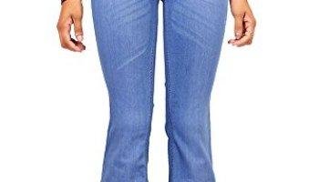 a56581c73f Vibrant Women's Juniors Bell Bottom High Waist Fitted Denim Jeans ...