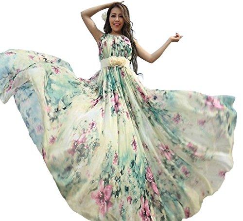 9cce30665dd MedeShe Women s Summer Floral Long Beach Maxi Dress Lightweight Sundress