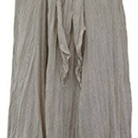 Knack Women's Long Full Crinkle Cotton Skirt & Coconut Shell Buckle (Beige)