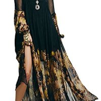 R.Vivimos® Women Chiffon Flower Printing Split Asymmetrical Long Dresses