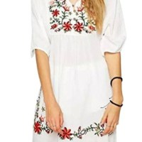 Lisingtool Women's Mexican Ethnic Embroidered Pessant Hippie Blouse Mini Dress