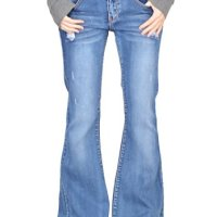 Glamour Outfitters 60s 70s Ripped Distressed Denim Flared Jeans - Blue