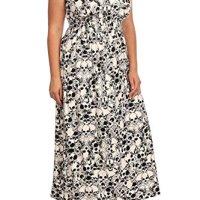 Women's Plus Size Short Sleeve Skull Print Maxi Dress - One Size