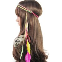 BAOBAO Indian Women Boho Feather Leaf Tassels Weave Hippie Headband Hair Band