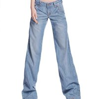 AvaCostume Women's Classic Washed Blue Wide Leg Bootcut Palazzo Jean Pants