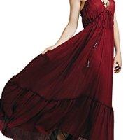 R.Vivimos Women Summer Spaghetti Strap V Neck Long Dresses