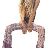 Holly's Womens Ankle Length Printed Stretch Flare Bell-bottoms Pants Trousers