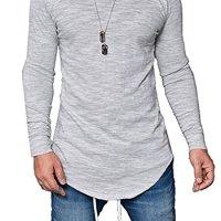 Pxmoda Men's Long Sleeve Hipster Hip Hop Swag Curved Hem T Shirt (Improved)