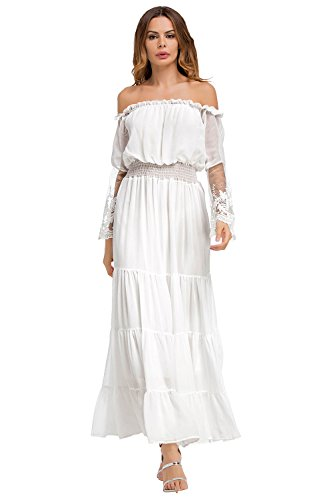 03ef8107f24 Off Shoulder Dresses White Lace for Women Maxi Sexy Cocktail Formal Evening  Party Wedding Chiffon Dress Long Sleeve