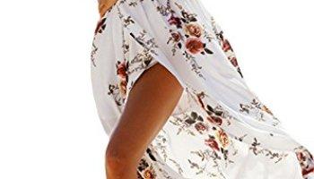 0543a2e187b7 Genhoo Women Off The Shoulder Floral Split Boho Chiffon Maxi Beach Dress