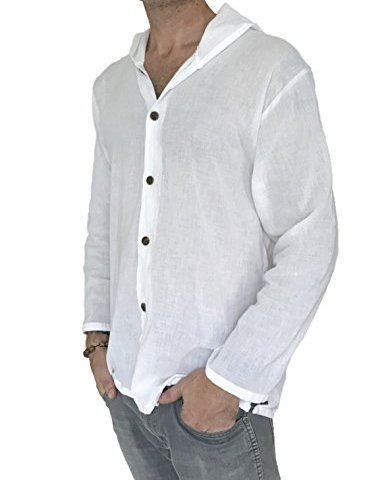 806bd6ea41a63 Men's Hoodie Button Down Hippie Shirts Beach 100% Soft Cotton Top Yoga Shirt