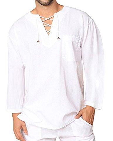 98497ded COOFANDY Mens Fashion T Shirt Cotton Tee Hippie Shirts Long Sleeve Beach  Yoga Top