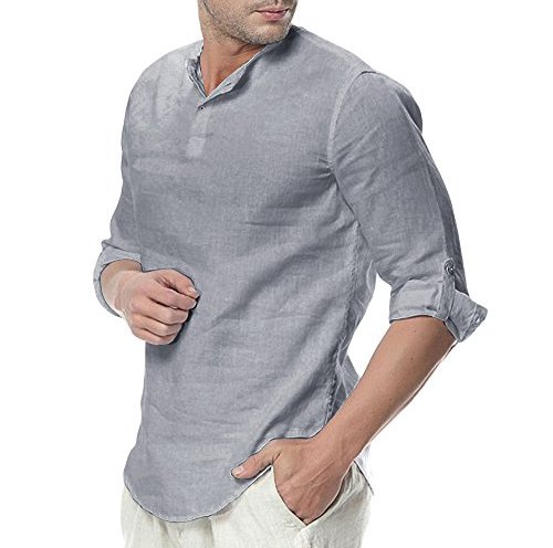 36898209 Mens Linen Cotton Henley Shirts 3/4 Sleeve Button Up Tops Summer Tees Beach  Rolled Up Casual Hippie Blouses