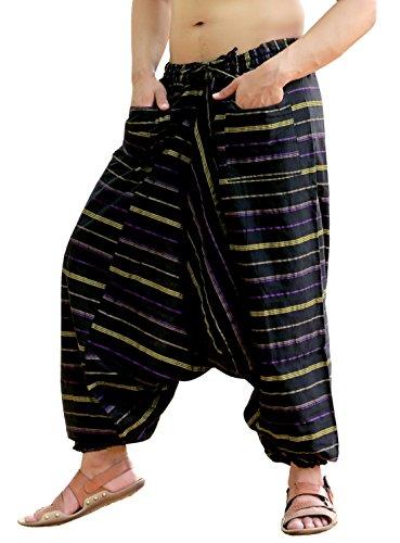 HTOOHTOOH Men Fashion Elastic Waist Wide Leg Cotton Harem Baggy Pant Trousers