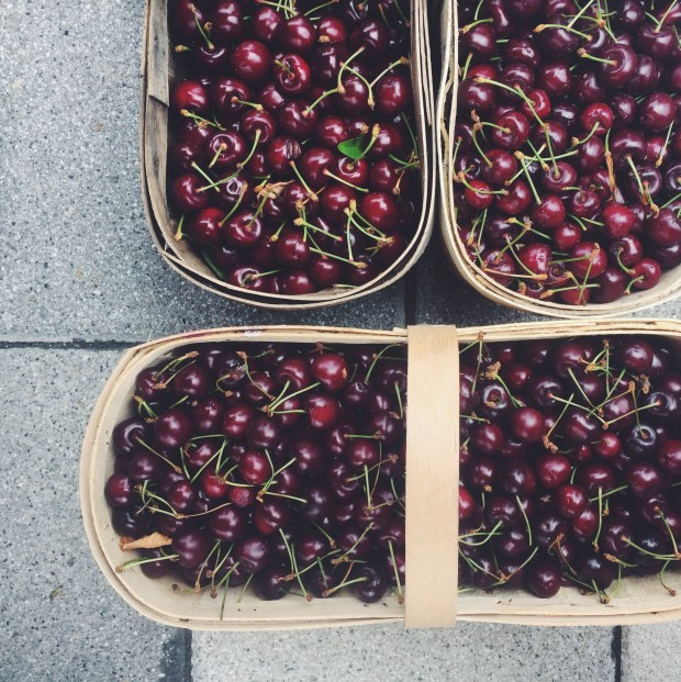 Farmers market zero waste shopping basket cherries