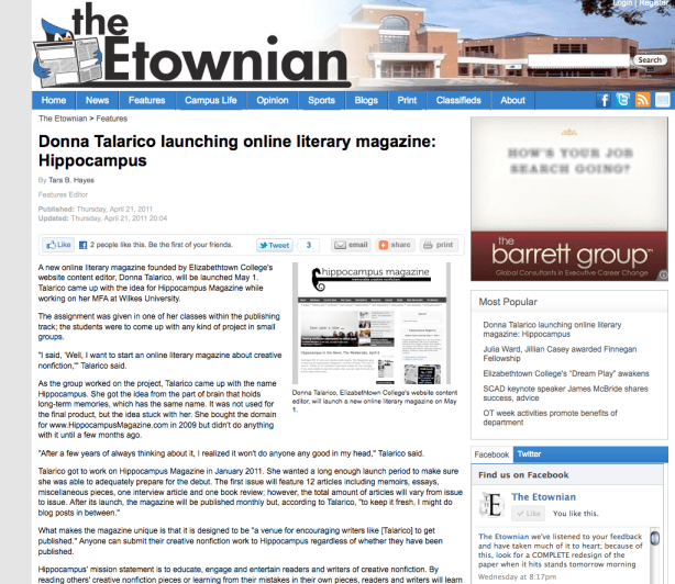 Etownian screen shot of Hippocampus Magazine story April 21, 2011