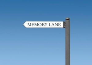 memory lane street sign on blue sky background