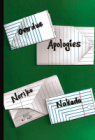 cover of overdue apologies with words in folded notes