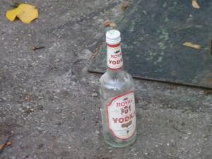 vodka bottle in street