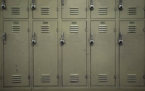 row of beige lockers