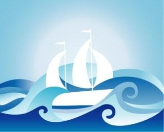drawing of sailboat and waves abstract