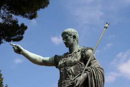 caesar statue pointing