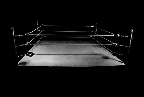 empty dingy boxing ring