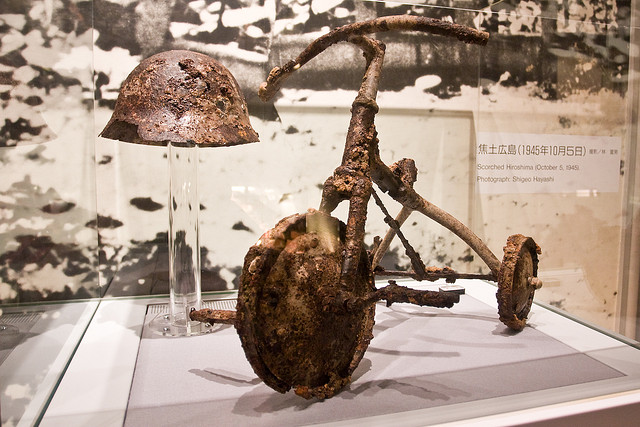 burned tricycle from hiroshima musseum