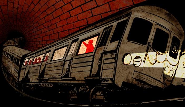 illustration, comic book like, of subway underground