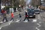 Laurie Baker's family crossing Abbey Road