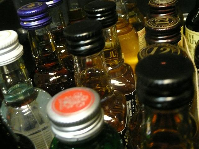 small bottles of hard liquor