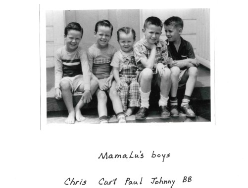 the five carbuagh brothers as children, black and white, older photo