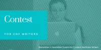 contest banner with woman typing on imac in back