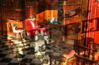 abstract photograph of old barbershop with checkerboard floors but through a filter that abstracts it a bit
