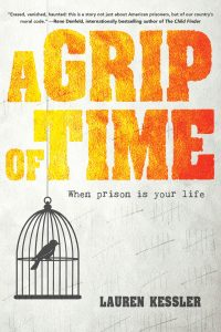 a grip of time cover - bird in a cage; design of cover title looks like font is on fire