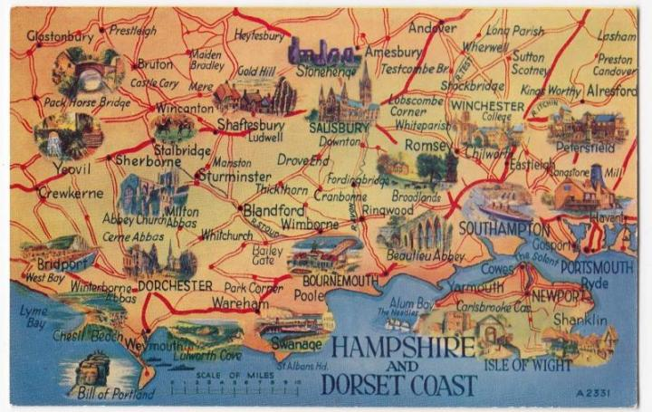 Inter Art Comic PPC  1919 PMK   We re Behind The Times  But What Do     Hampshire   Dorset Coast With Isle of Wight Map PPC by Valentines  Unposted  2