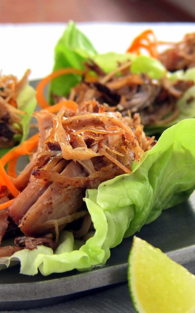 pressure cooker pulled pork carnitas lettuce cups